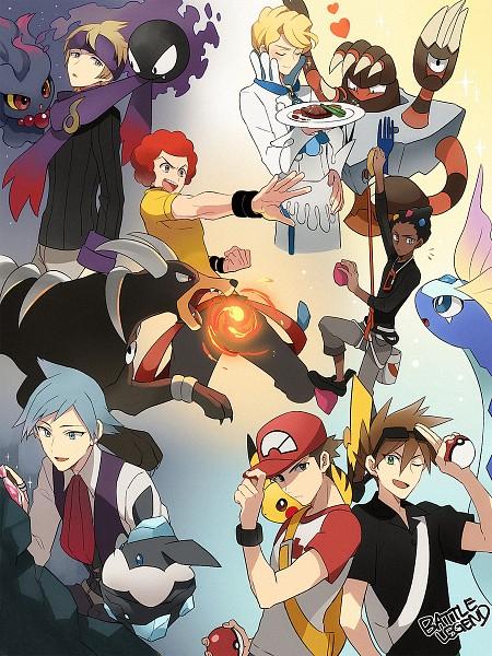 Tags: Anime, Pixiv Id 7411932, Pokémon Gold & Silver, Pokémon Sun & Moon, Pokémon Red & Green, Pokémon, Matsuba (Pokémon), Carbink, Houndoom, Gastly, Aurorus, Mismagius, Zakuro (Pokémon)