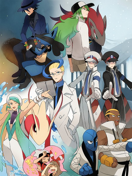 Tags: Anime, Pixiv Id 7411932, Pokémon, Renbu, Milotic, Hikari (Pokémon), Nobori, Lucario, Akuroma (Pokémon), Kudari, Yuuki (Pokémon), N (Pokémon), Gen (Pokémon)
