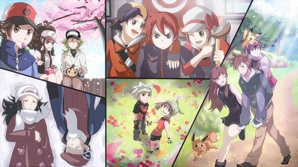 Tags: Anime, Pixiv Id 1020021, Pokémon Red & Green, Pokémon Gold & Silver, Pokémon, Tympole, Pikachu, Green (Pokémon), Hibiki (Pokémon), N (Pokémon), Leaf (Pokémon), Eevee, Touko (Pokémon)