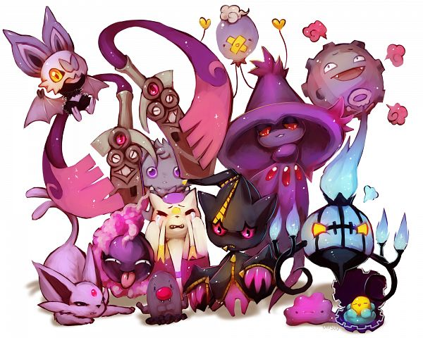 Tags: Anime, Onisuu, Pokémon, Chandelure, Espurr, Drifloon, Ditto, Doublade, Gastly, Clamperl, Diglett, Espeon, Koffing
