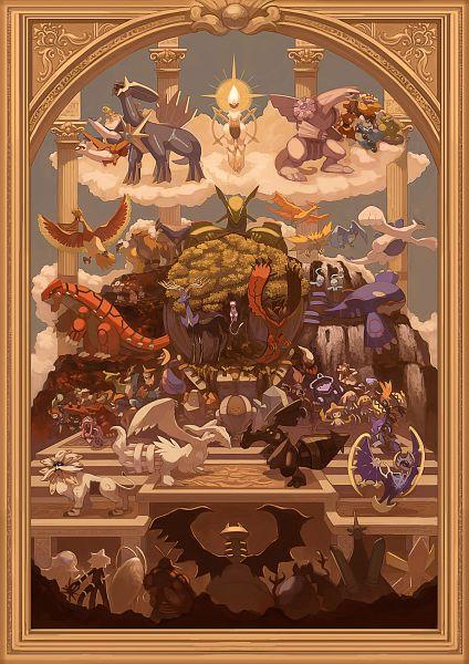 Tags: Anime, Pixiv Id 16376245, Pokémon, Genesect, Arceus, Suicune, Lunala, Reshiram, Regigigas, Mew, Manaphy, Cobalion, Regice