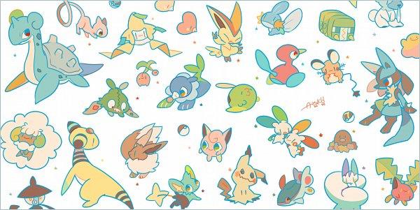 Tags: Anime, Pixiv Id 1481702, Pokémon, Charjabug, Jigglypuff, Plusle, Ampharos, Gulpin, Whimsicott, Popplio, Shinx, Victini, Cubchoo