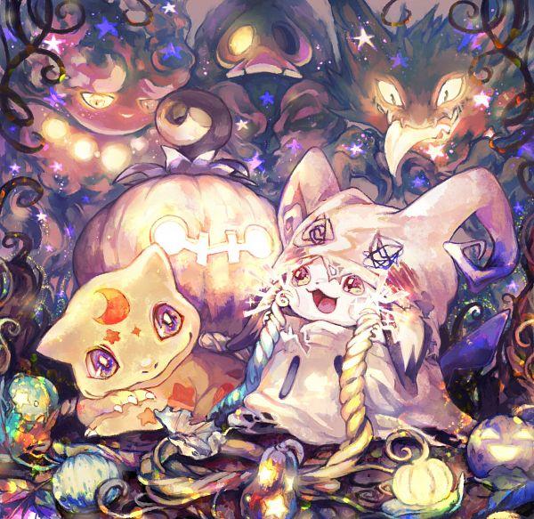 Tags: Anime, Pixiv Id 884938, Pokémon Gold & Silver, Pokémon, Haunter, Misdreavus, Pichu, Duskull, Bulbasaur, Mimikkyu (Cosplay), Fanart, Twitter