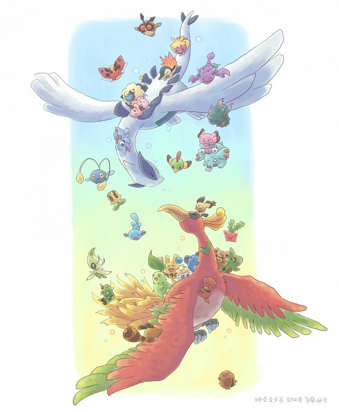 Tags: Anime, Upao, Pokémon, Totodile, Ho-oh, Gligar, Spinarak, Hoppip, Cleffa, Magby, Cyndaquil, Teddiursa, Elekid