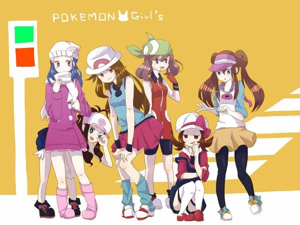Tags: Anime, Pixiv Id 2514337, Pokémon Gold & Silver, Pokémon Red & Green, Pokémon Ruby & Sapphire, Black and White 2, Pokémon Black & White, Pokémon Diamond & Pearl, Pokémon, Kotone (Pokémon), Haruka (Pokémon), Touko (Pokémon), Hikari (Pokémon)