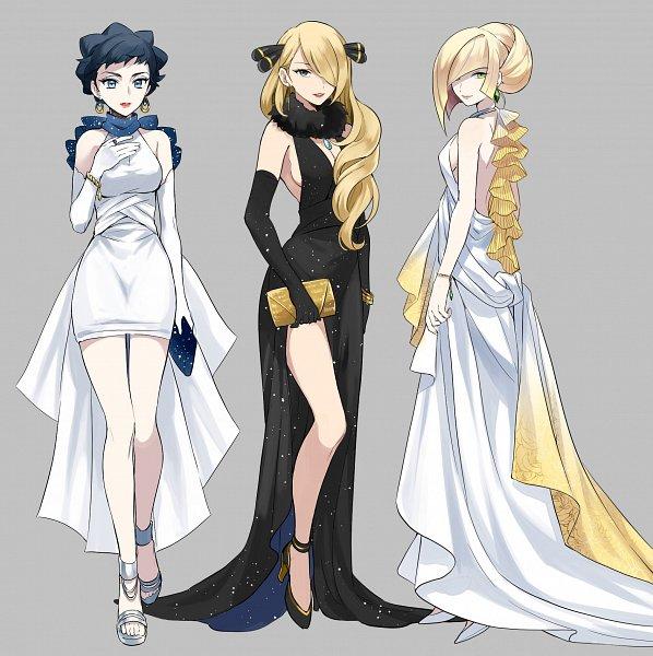 Tags: Anime, Pixiv Id 7411932, Pokémon Diamond & Pearl, Pokémon Sun & Moon, Pokémon X & Y, Pokémon, Shirona (Pokémon), Lusamine, Carnet (Pokémon), Fanart