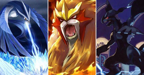 Tags: Anime, Pokémon, Articuno, Entei, Zekrom, Legendary Pokémon, Fanart, Legendary Birds