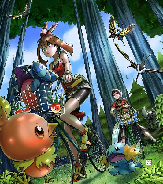 Tags: Anime, Eudetenis, Pokémon Ruby & Sapphire, Pokémon, Yuuki (Pokémon), Mudkip, Haruka (Pokémon), Zigzagoon, Torchic