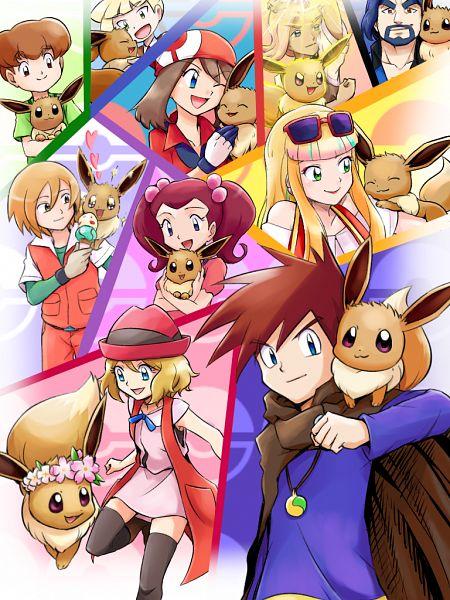 Tags: Anime, Pixiv Id 14529591, Pokémon (Anime), Pokémon The Movie: Minna no Monogatari, Pokémon X & Y, Pokémon Sun & Moon, Pokémon Red & Green, Pokémon Ruby & Sapphire, Pokémon, Green (Pokémon), Gladion, Risa (Pokémon), Eevee