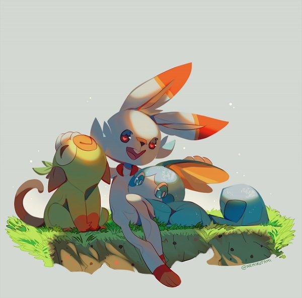 Tags: Anime, Nemirutami, Pokémon Sword & Shield, Pokémon, Sobble, Grookey, Scorbunny, Twitter, Fanart