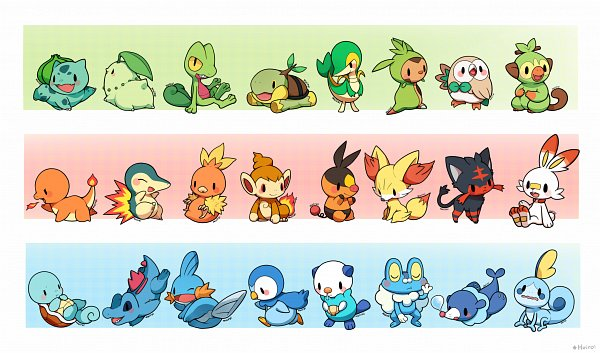 Tags: Anime, Pixiv Id 763010, Pokémon, Sobble, Mudkip, Chimchar, Rowlet, Totodile, Grookey, Squirtle, Treecko, Chespin, Cyndaquil