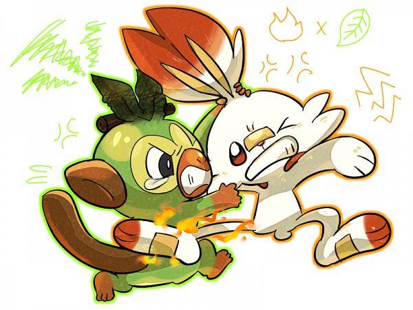 Tags: Anime, Pixiv Id 1068200, Pokémon Sword & Shield, Pokémon, Grookey, Scorbunny, Pixiv, Wallpaper, Fanart, Fanart From Pixiv