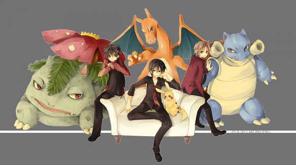 Tags: Anime, Jikei, Pokémon SPECIAL, Pokémon, Charizard, Red (Pokémon FireRed and LeafGreen), Red (Pokémon), Pikachu, Blastoise, Venusaur, Wallpaper, Fanart, Pixiv