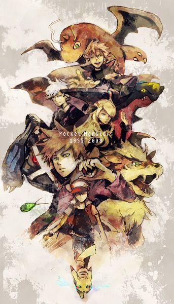Tags: Anime, Sin Hitonatsu, Pokémon Diamond & Pearl, Pokémon Red & Green, Pokémon Ruby & Sapphire, Pokémon, Dragonite, Garchomp, Green (Pokémon), Wataru (Pokémon), Red (Pokémon), Arcanine, Shirona (Pokémon)