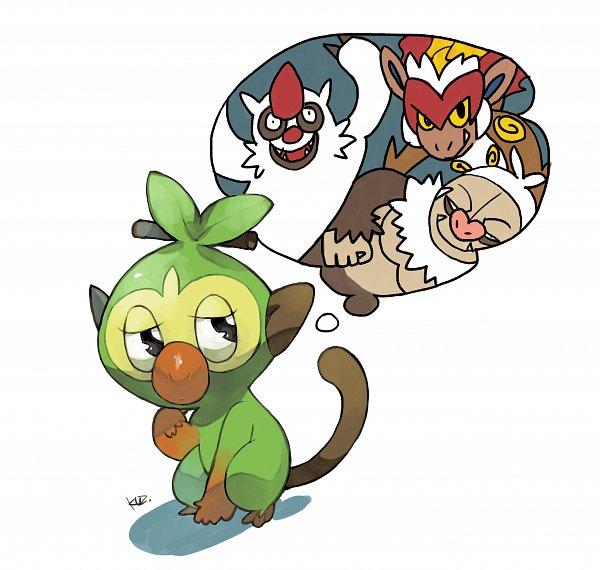 Tags: Anime, Pixiv Id 29506, Pokémon Ruby & Sapphire, Pokémon Diamond & Pearl, Pokémon Sword & Shield, Pokémon, Infernape, Grookey, Slaking, Vigoroth, Thinking, Fanart From Pixiv, Pixiv