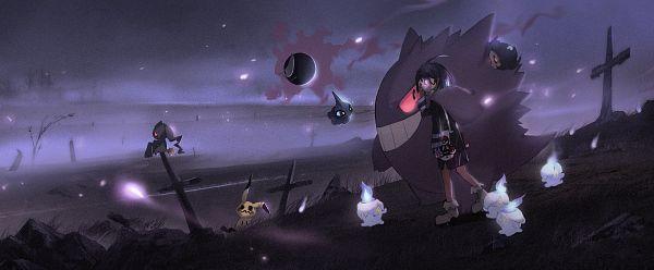 Tags: Anime, Pixiv Id 3795532, Pokémon Ultra Sun & Moon, Pokémon Sword & Shield, Pokémon Sun & Moon, Pokémon Red & Green, Pokémon Ruby & Sapphire, Pokémon Black & White, Black and White 2, Pokémon, Onion (Pokémon), Gengar, Litwick
