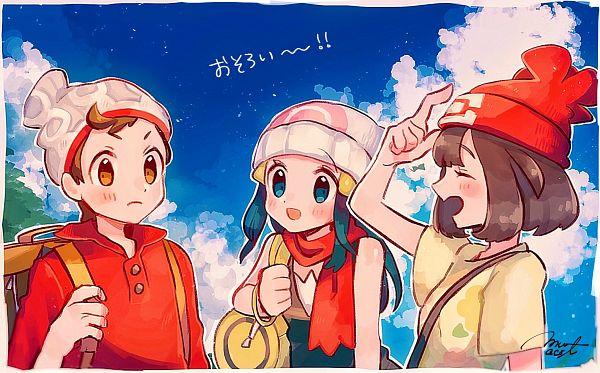 Tags: Anime, Hanenbo, Pokémon Diamond & Pearl, Pokémon Sun & Moon, Pokémon Sword & Shield, Pokémon, Hikari (Pokémon), Mizuki (Pokémon), Male Protagonist (Pokémon Sword & Shield), Characteristic Connection