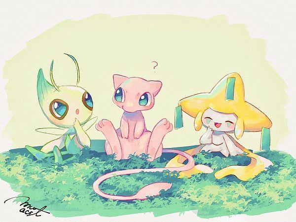 Tags: Anime, Hanenbo, Pokémon Gold & Silver, Pokémon Red & Green, Pokémon Ruby & Sapphire, Pokémon, Celebi, Jirachi, Mew, Sitting On Grass, Legendary Pokémon