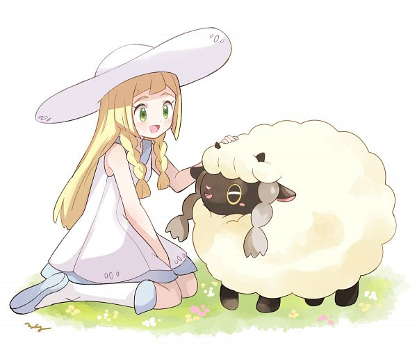 Tags: Anime, May (Pixiv Id 233774), Pokémon Sword & Shield, Pokémon Sun & Moon, Pokémon, Lillie (Pokémon), Wooloo, Fanart From Pixiv, Pixiv, Fanart