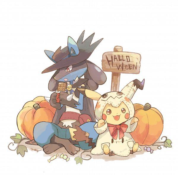 Tags: Anime, May (Pixiv Id 233774), Pokémon, Lucario, Pikachu, Ryou (PokéMon) (Cosplay), Mimikyu (Cosplay), Text: Halloween, Pixiv, Fanart From Pixiv, Fanart
