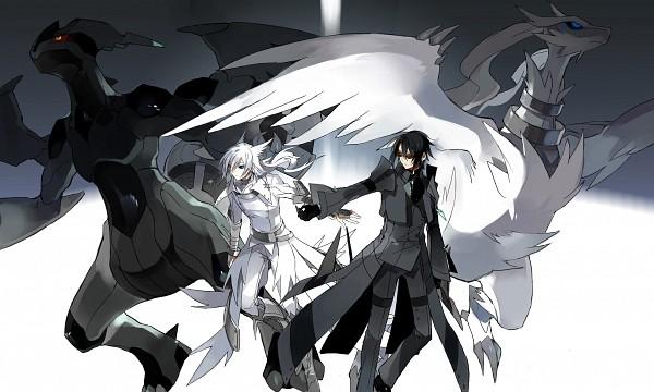 Tags: Anime, STAR Shadow Magician, Pokémon, Zekrom, Reshiram, Opposites, Fanart, Pixiv, Legendary Pokémon, Wallpaper