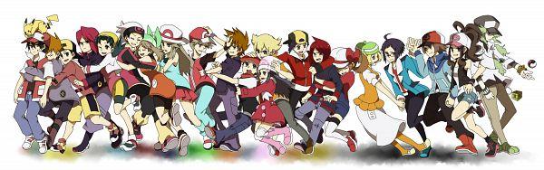Tags: Anime, Pixiv Id 2208069, Pokémon Ruby & Sapphire, Pokémon Black & White, Pokémon Diamond & Pearl, Pokémon Gold & Silver, Pokémon Red & Green, Pokémon, Silver (Pokémon), N (Pokémon), Pikachu, Green (Pokémon), Kotone (Pokémon)
