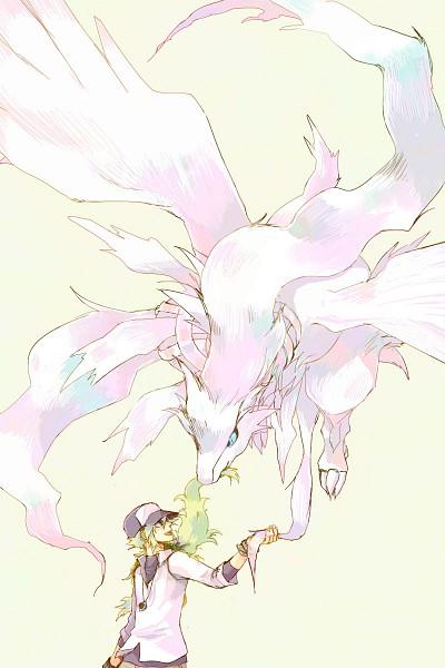 Tags: Anime, Pokémon, N (Pokémon), Reshiram, Mobile Wallpaper, Legendary Pokémon