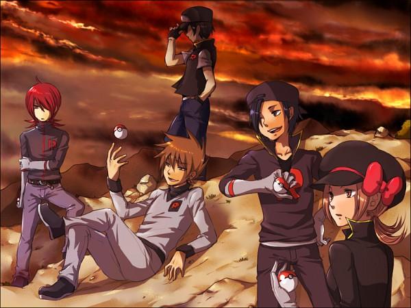 Tags: Anime, Sakurai (Pixiv1364648), Pokémon, Kotone (Pokémon), Hibiki (Pokémon), Green (Pokémon), Red (Pokémon), Silver (Pokémon), Team Rocket (Cosplay), Fanart