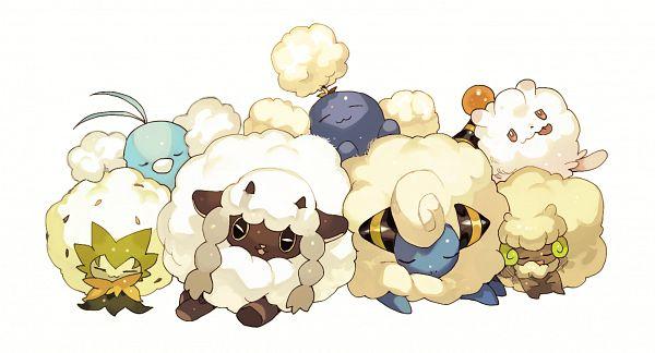 Tags: Anime, Shilla P, Pokémon Sword & Shield, Pokémon, Eldegoss, Whimsicott, Jumpluff, Swirlix, Swablu, Mareep, Wooloo, Pixiv, Fanart