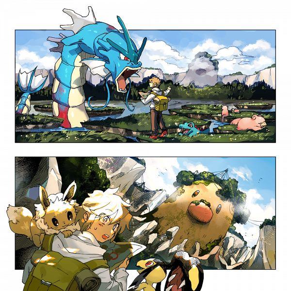 Tags: Anime, Shilla P, Pokémon, Diglett, Gyarados, Totodile, Mawile, Eevee, Slowpoke, Pixiv, Fanart From Pixiv, Fanart