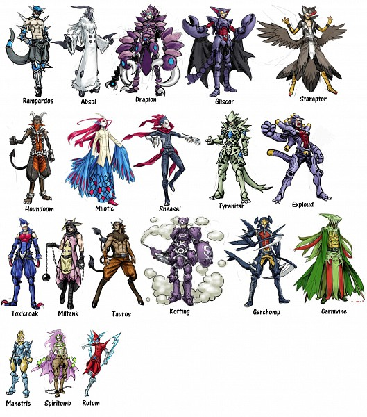 Tags: Anime, Meimaru Inuchiyo, Pokémon, Tauros, Carnivine, Rampardos, Rotom, Toxicroak, Absol, Spiritomb, Milotic, Exploud, Miltank