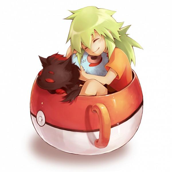 Tags: Anime, Carrot (zltpdibb), Pokémon, N (Pokémon), Woobat, Zorua, Pokéball Mug, Pixiv, Fanart From Pixiv, Fanart