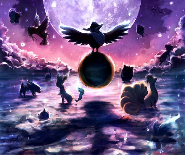 Tags: Anime, Pixiv Id 417763, Pokémon, Butterfree, Leafeon, Pidgeot, Gengar, Honchkrow, Articuno, Drifblim, Goldeen, Lumineon, Mew