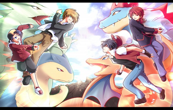 Tags: Anime, Mayokiti, Pokémon, Hibiki (Pokémon), Charizard, Green (Pokémon), Tyranitar, Red (Pokémon), Typhlosion, Silver (Pokémon), Feraligatr, Pixiv, Fanart