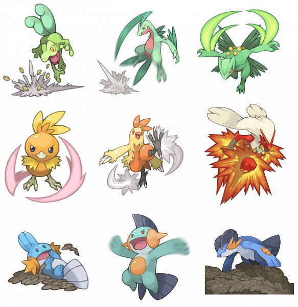 Tags: Anime, Pearlsaurus, Pokémon, Grovyle, Treecko, Combusken, Torchic, Blaziken, Swampert, Mudkip, Sceptile, Marshtomp