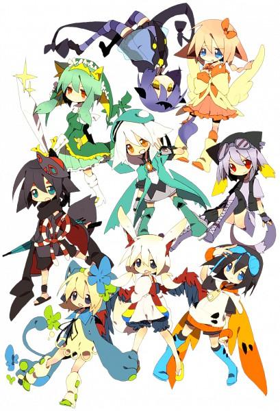 Tags: Anime, Pixiv Id 111872, Pokémon, Leperasudu, Serperior, Sigilyph, Lampent, Archeops, Victini, Zorua, Legendary Pokémon, Mobile Wallpaper