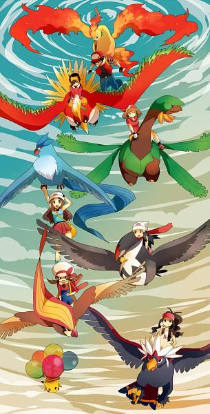 Tags: Anime, Roku Roku (Greentea66), Pokémon, Moltres, Haruka (Pokémon), Tropius, Leaf (Pokémon), Braviary, Hikari (Pokémon), Pidgeot, Red (Pokémon), Staraptor, Pikachu