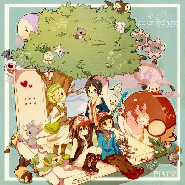 Tags: Anime, Miru (Artist), Pokémon, Touko (Pokémon), Emolga, Reuniclus, Deerling, Woobat, Vanillite, Pikachu, Bel (Pokémon), Snivy, Klink