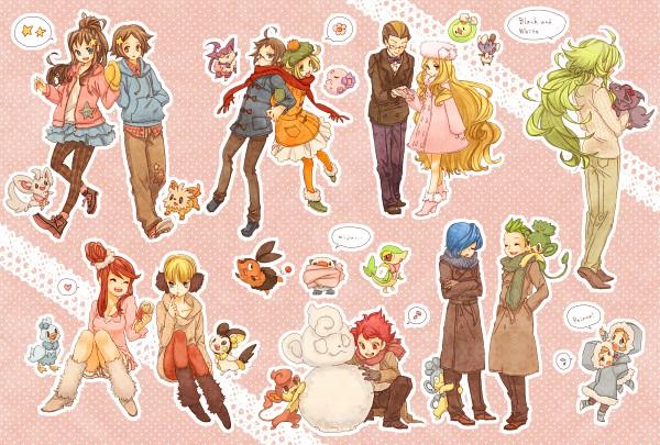 Tags: Anime, kumamimi (Pixiv364467), Pokémon, N (Pokémon), Fuuro, Touya (Pokémon), Kokuran (Pokémon), Pansage, Gothita, Plasma-dan Shitappa (Male), Emolga, Snivy, Cattleya