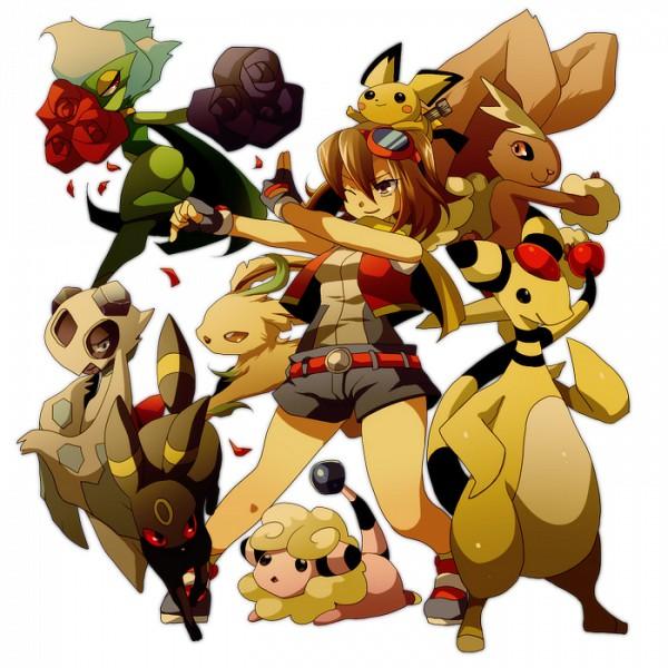 Tags: Anime, Pixiv Id 30593, Pokémon, Roserade, Minami (Pokémon Ranger), Mareep, Lopunny, Ampharos, Froslass, Leafeon, Pichu, Umbreon, Pixiv