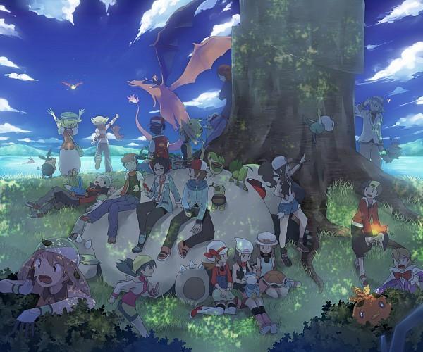 Tags: Anime, Inaesake, Pokémon SPECIAL, Pokémon, Green (Pokémon), Chimchar, Haruka (Pokémon), Totodile, Yuuki (Pokémon), Touko (Pokémon), Chikorita, Oshawott, Leaf (Pokémon)