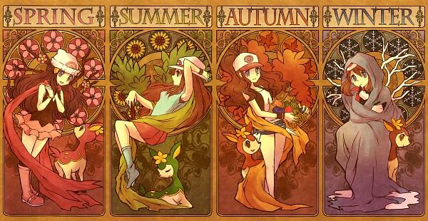 Tags: Anime, Kabocha Torute, Pokémon, Deerling, Touko (Pokémon), Leaf (Pokémon), Haruka (Pokémon), Hikari (Pokémon), Spring, Art Nouveau, Four Seasons, Deer, Pixiv
