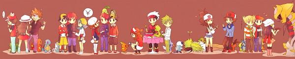 Tags: Anime, Kabocha Torute, Pokémon, N (Pokémon), Squirtle, Red (Pokémon), Giratina, Tepig, Cyndaquil, Bulbasaur, Touko (Pokémon), Haruka (Pokémon), Totodile