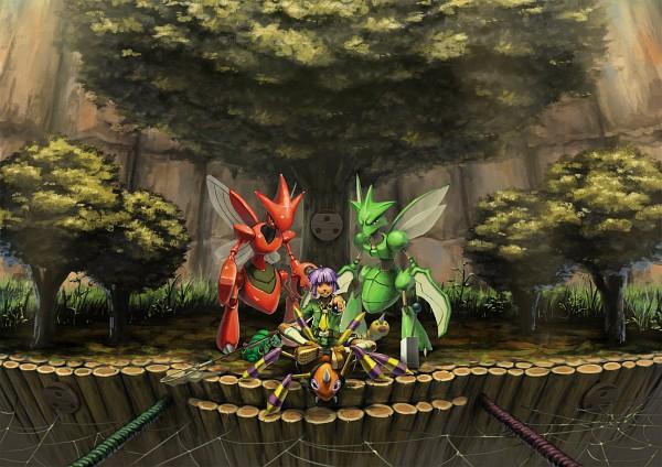 Tags: Anime, Higashiyama Hayato, Pokémon, Weedle, Scizor, Ariados, Scyther, Tsukushi (Pokémon), Caterpie
