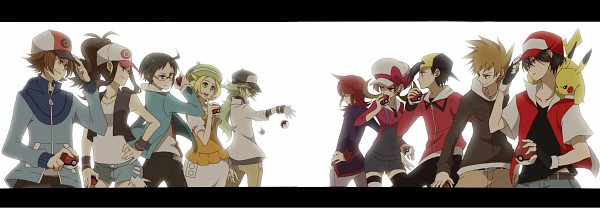 Tags: Anime, Pokémon, Cheren (Pokémon), Silver (Pokémon), N (Pokémon), Kotone (Pokémon), Touko (Pokémon), Hibiki (Pokémon), Green (Pokémon), Pikachu, Bel (Pokémon), Red (Pokémon), Group Versus Group