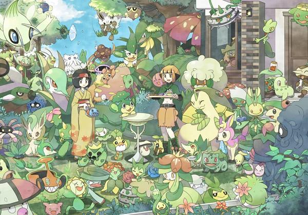 Tags: Anime, Mizuki 31ten, Pokémon, Hoppip, Seedot, Bayleef, Lilligant, Leafeon, Celebi, Leavanny, Meganium, Cherubi, Shaymin