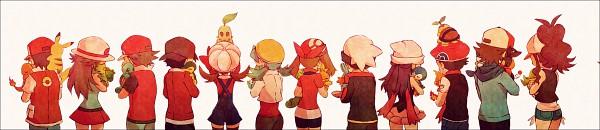 Tags: Anime, Kabocha Torute, Pokémon, Squirtle, Kouki (Pokémon), Hibiki (Pokémon), Fire (Pokémon), Haruka (Pokémon), Leaf (Pokémon), Chikorita, Touko (Pokémon), Hikari (Pokémon), Kris (Pokémon)