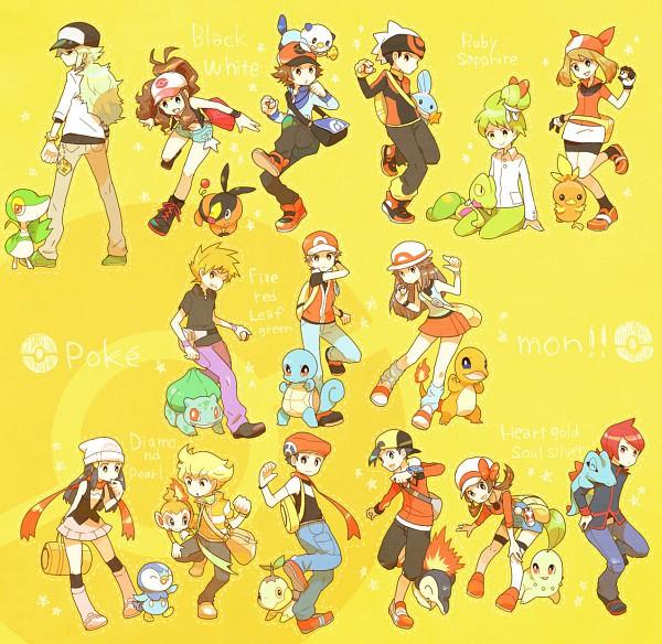 Tags: Anime, csnel, Pokémon, Kouki (Pokémon), Ralts, Haruka (Pokémon), Totodile, Torchic, Snivy, Chikorita, Bulbasaur, N (Pokémon), Piplup