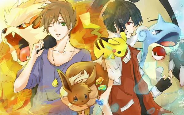 Tags: Anime, Pokémon, Eevee, Arcanine, Pikachu, Green (Pokémon), Red (Pokémon), Lapras, Wallpaper