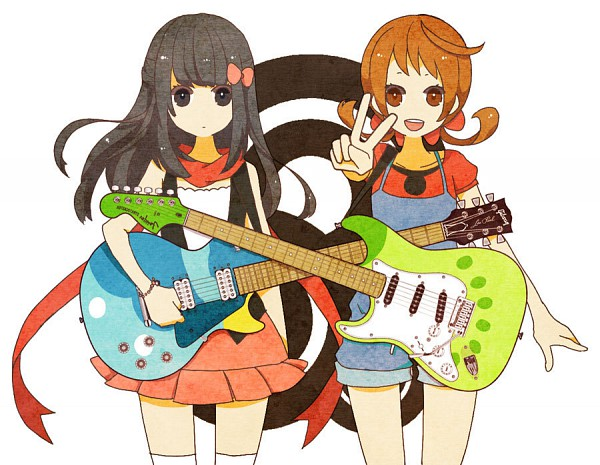 Tags: Anime, csnel, Pokémon, Hikari (Pokémon), Kotone (Pokémon), Electric Guitar, Pixiv, Fanart From Pixiv, Fanart